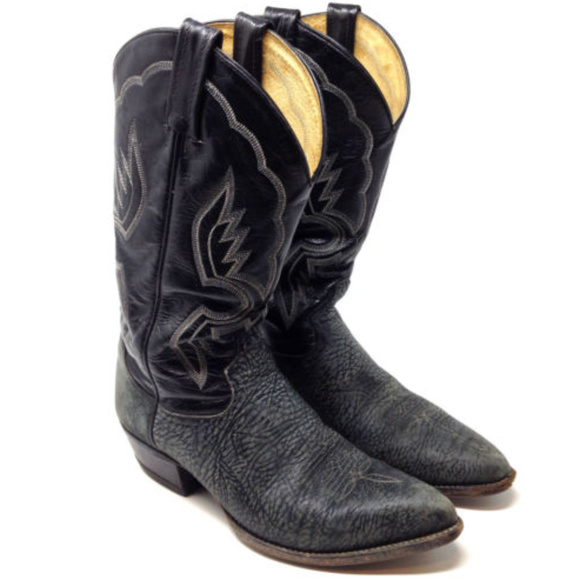 8636feb3cc9 Tony Lama Elephant Skin Exotic Mens Cowboy Boots 9